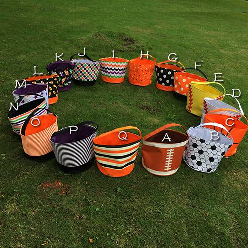 2016 New Designer Halloween Tote Trick or Treat buckets in 17 Colors