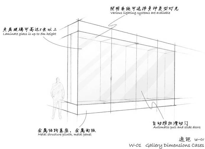 Museum Wall display cases - Gallery dimensions cases W-01