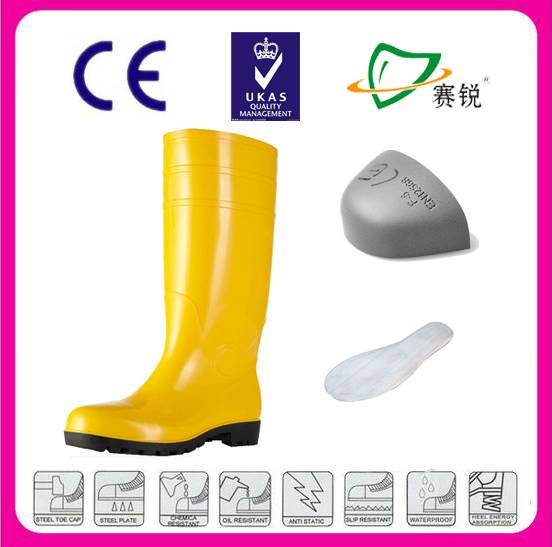 Yellow pvc safety boots with steel toe and steel plate