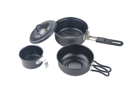 Camping aluminium non stick 3pcs cook set
