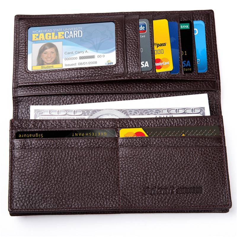 Pebbled Genuine Leather Long Bifold RFID Wallet for Men Black Brown 11 Card Slots Checkbook Protecte
