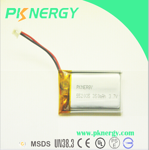 Ce UL MSDS Certificated Rechargeable Li-Po Battery 552035 350mAh 3.7V