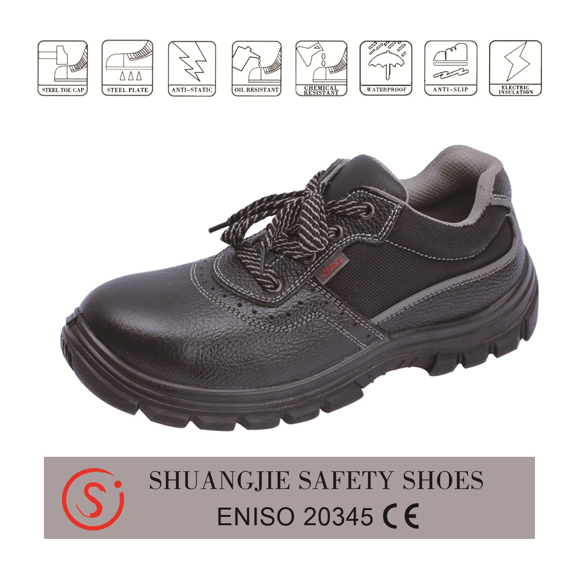 safety shoes work boots 9036 embossed leather pu outsole