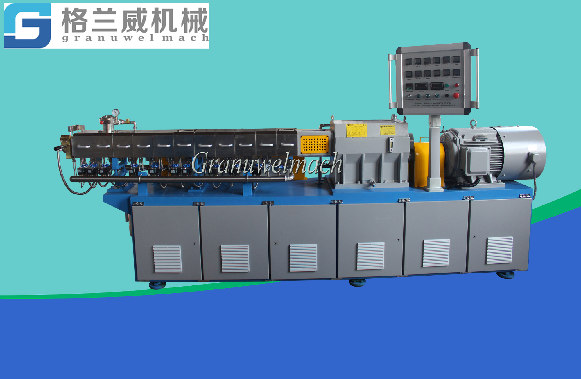 40 mm (parallel co-rotating)twin screw extruder and extrusion line for laboratory