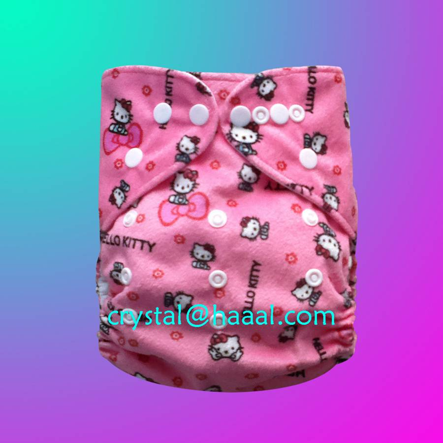 lovely cat printed minky cloth nappy diaper