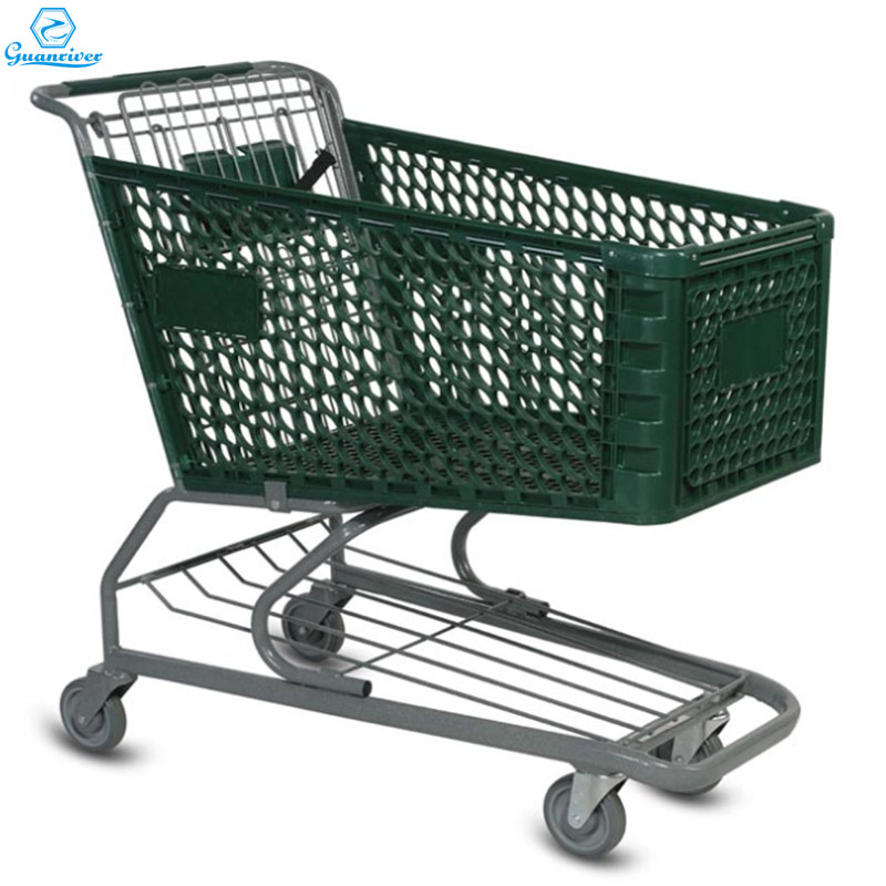 New Design Plastic Supermarket Shopping Trolley For Retail Store