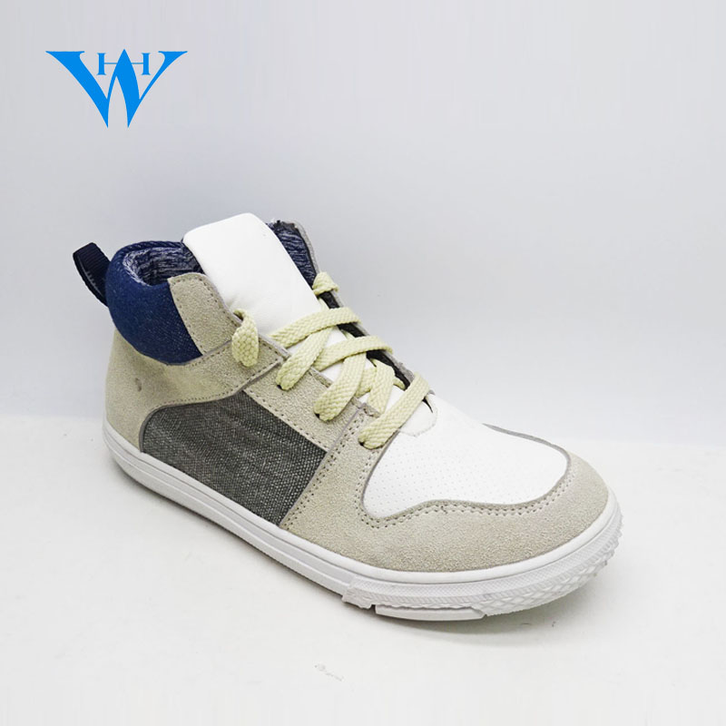 Fashionable and soft unisex kids casual sneakers kids custom lace up high top pu sneakers