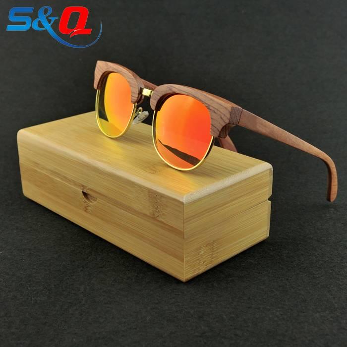 vintage beech wood uv400 polarized sunglasses