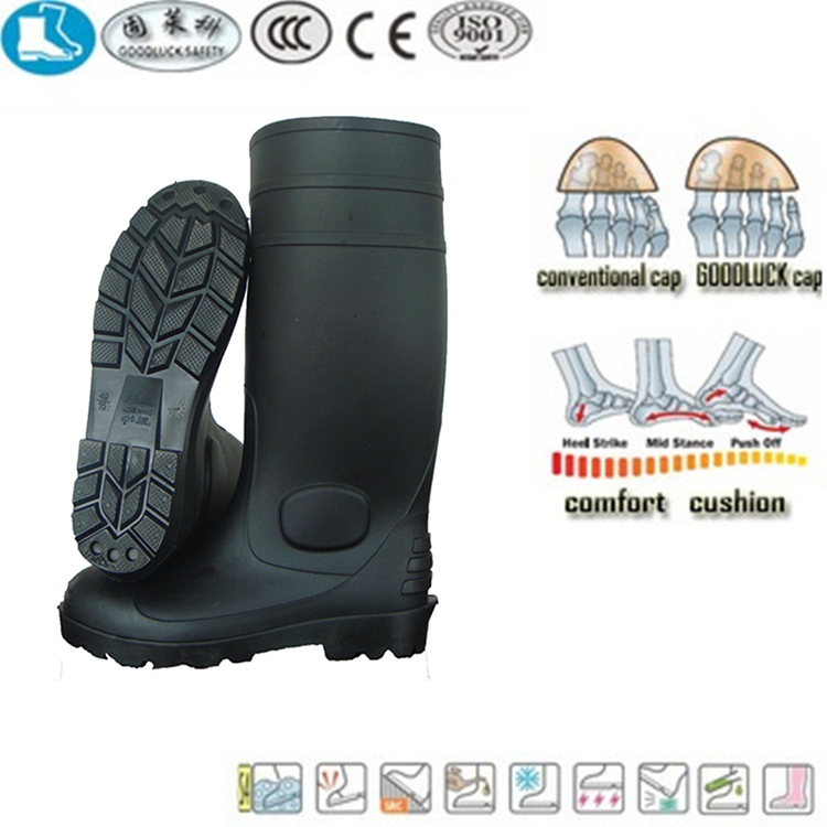 China cheap and high quality pvc rain boots mining and construction steei-toe gum boots