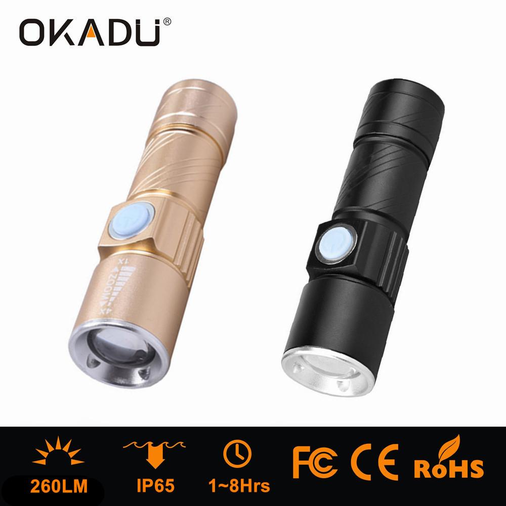 OKADU ZQ04 Multifunction Mini Zoom USB Flashlight Cree Q5 USB Torch 260Lumen USB LED Flashlight