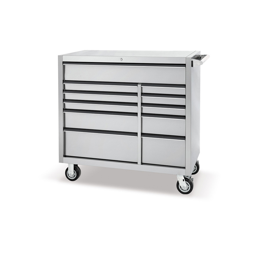 """56""""11 drawer stainless steel cabinet"""