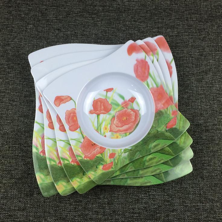 Square flower melamine plate
