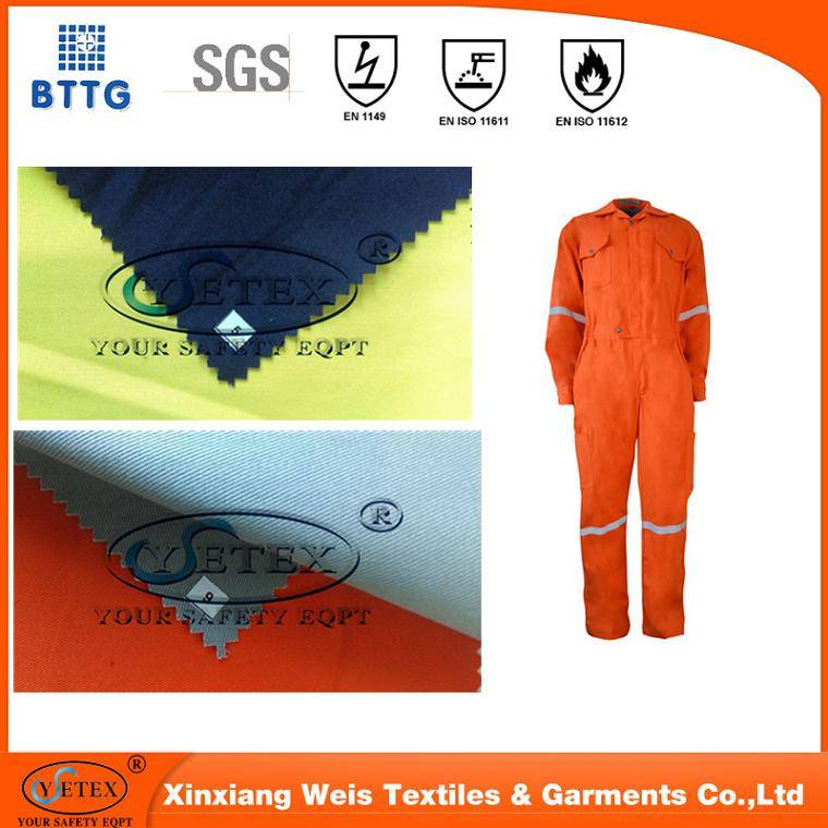 100% Cotton durable anti-fire&anti-oil protective fabric for antifire welding workwear