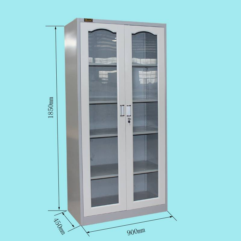 Metal 2 glass door steel file caninet office furniture