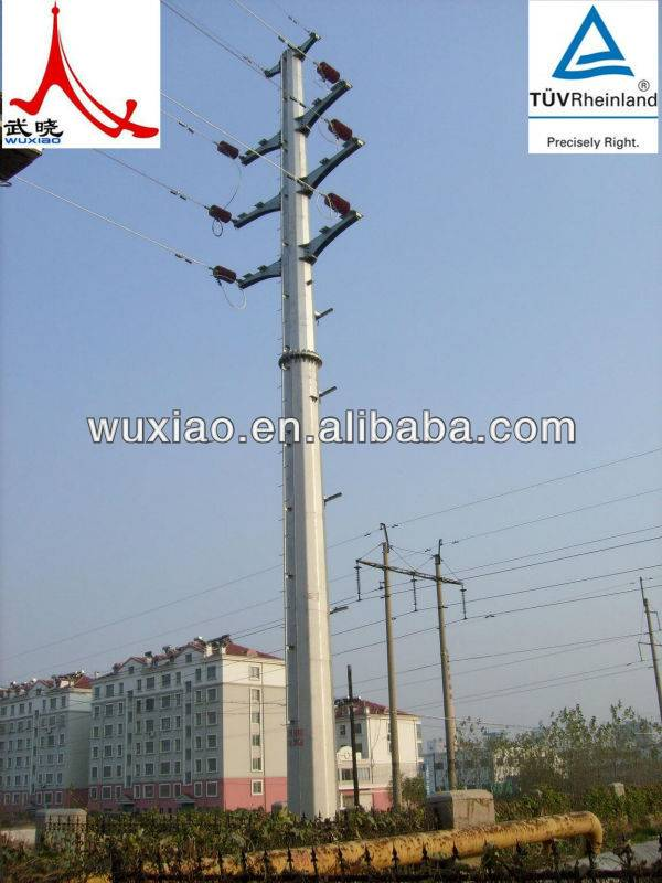 Galvanized Monopole tower for electric tower and wind turbine tower