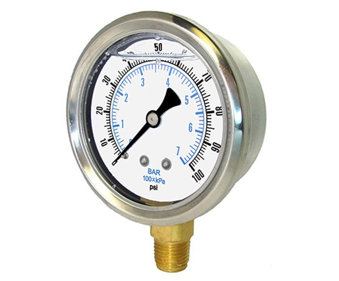 oil-filled pressure gauge , back connection,brass internal