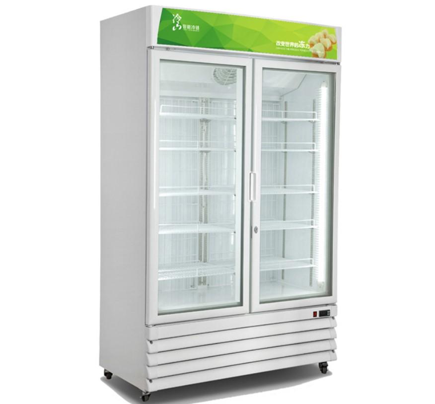 -18~ -23C Supermarket 2 glass doors upright freezer Ice cream display freezer