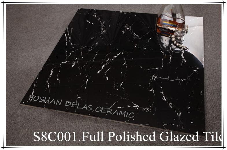 S8C001 Inkjet Black Glitter Vitrified Glazed Marble Floor Hotel Tile