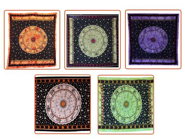 Handicrunch | Indian Horoscope Printed Tapestry wall Hanging Bedcover