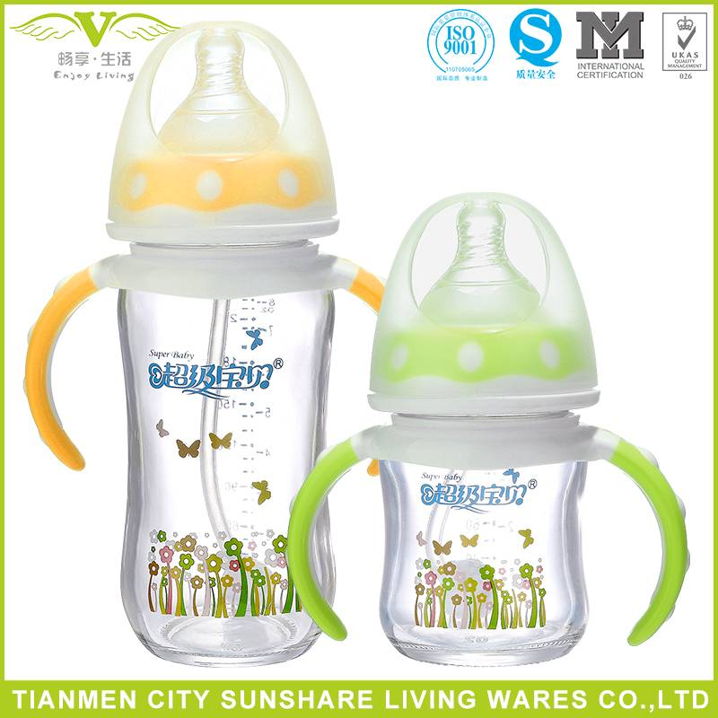 Anti-breaking Higher Heat Resistance Titanium Glass Baby Feeding Bottles