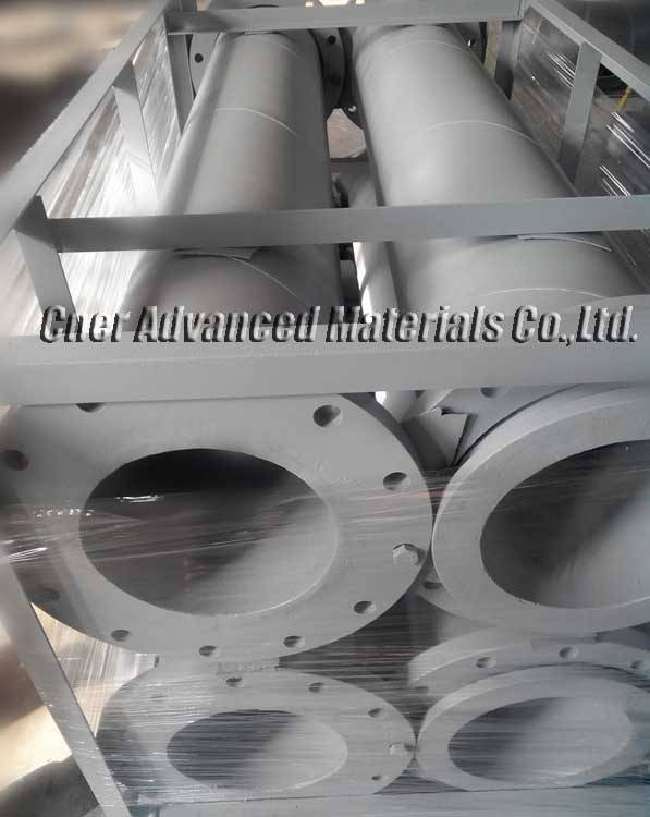 Silicon carbide lined ceramic steel pipework