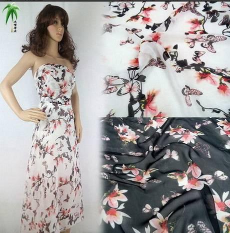 Silk dress shirt silk cloth beach skirt width printing Chiffon flora colorful flowers