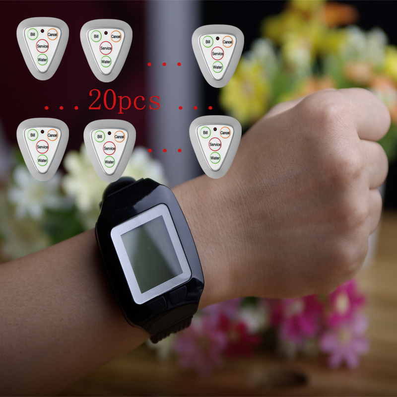 Triangle buttons Wireless calling pager,wrist watch pager,MMCall pagers for restaurant