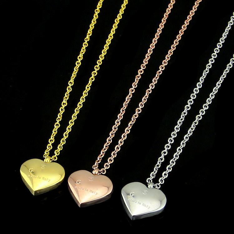 not fade 18k plated heart necklace,rose,gold.silver color option
