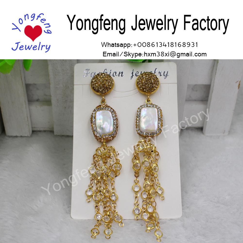 fashion rounded rectangle earrings,freshwater pearls dangle earrings,bronzed chain tassel earrings