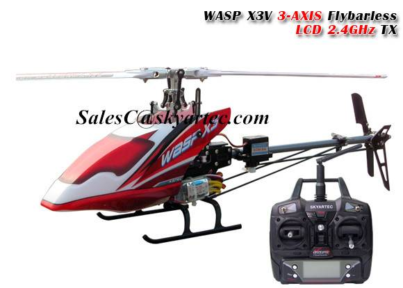 WASP X3V 3-AXIS flybarless rc helicopter LCD 2.4GHz RTF