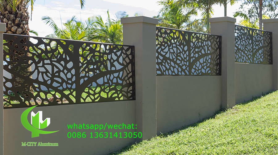Metal aluminium fence with cutting design