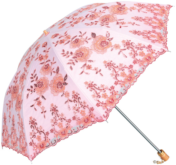 double diamond gauze embroidery double - folding clear umbrella