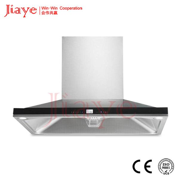 New design Curved glass kitchen used easy clean range hood JY-HT9015