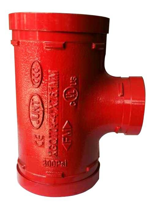 FM UL cUL approved ductile iron grooved coupling and grooved pipe fitting grooved reducing tee