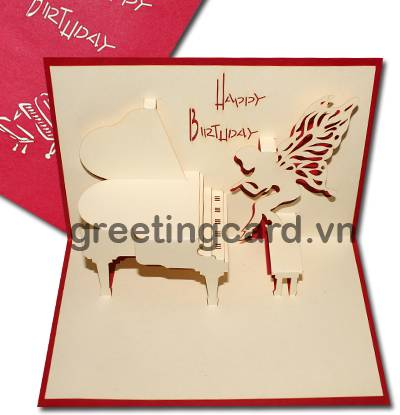 Piano 3D pop up greeting card