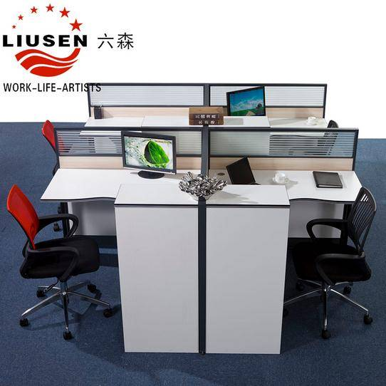 White Modular Office Desk and Modern Office Workstation For 4 People withou Cabinets (LS-014)