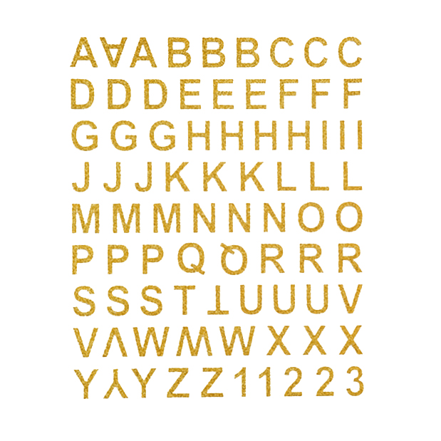 Learning Alphabet Gold Glitter Stickers