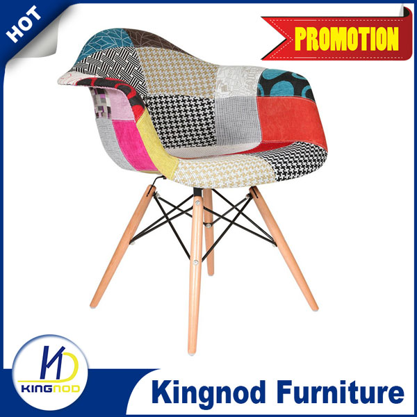 Wooden Leg Chair Emes Chair Plastic PP Fabric Colorful Dining Chairs C-437