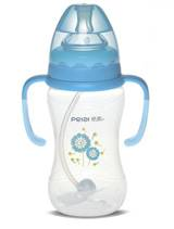 350ml Wide-neck pattern feeding bottle with handle (dual color)