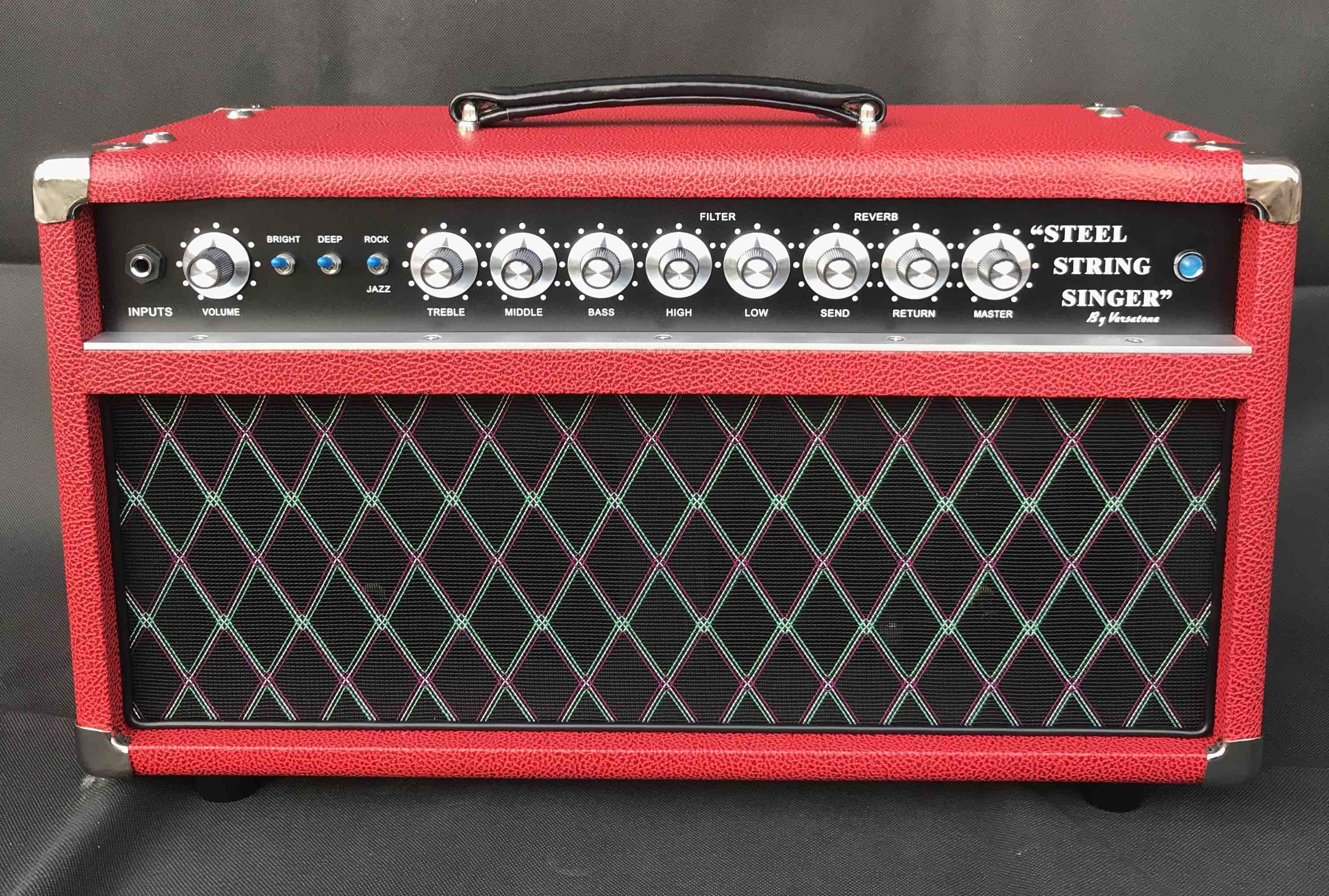 Professional Tube Guitar AMP Head 50W Dumble Tone SSS Steel String Singer Valve Amplifier in Red