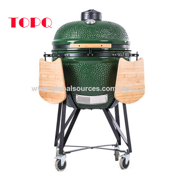 Charcoal Grill for Home and Outdoor Use with Easy Clean Bamboo Side Shelves