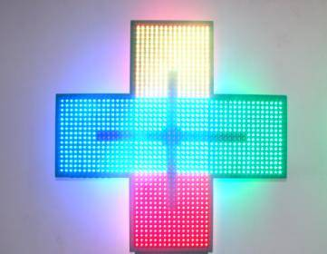 LED Cross Sign With CE Full Color/RGB Cross Display