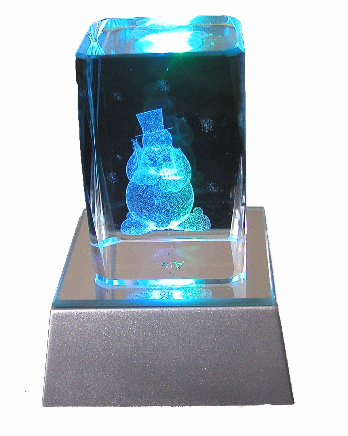 3d laser etched Christmas crystal
