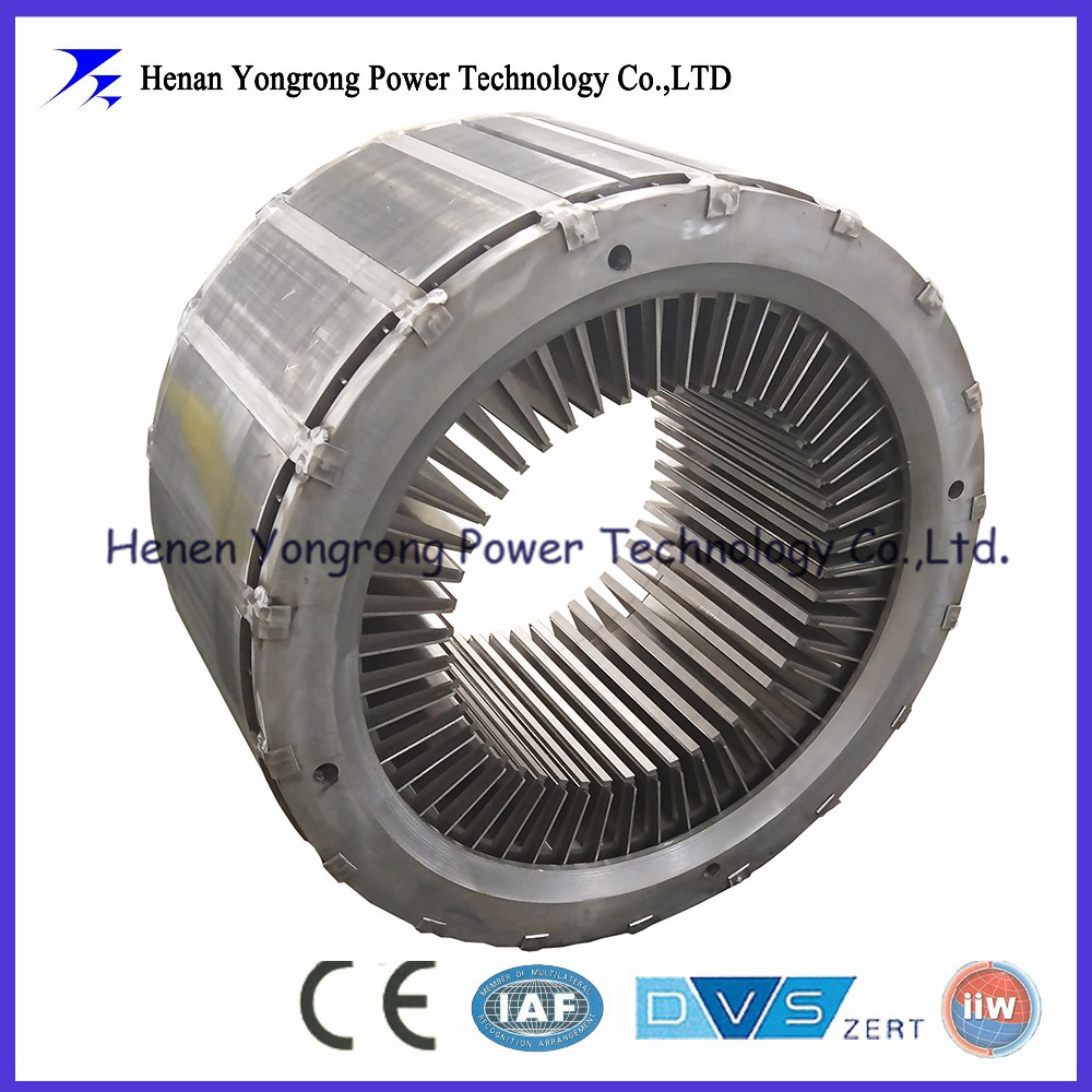 Assembled stator core for railway vehicles