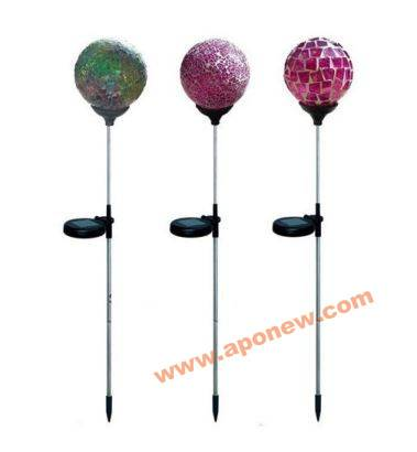 Color changing solar crackle glass ball led light