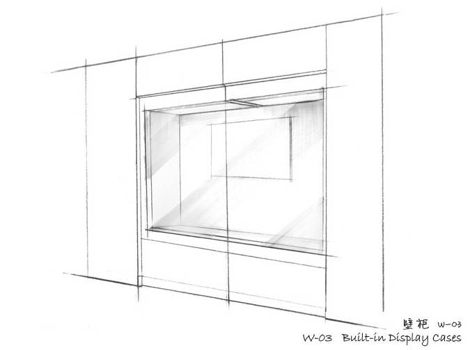 Museum Wall display cases Built in display cases W-03