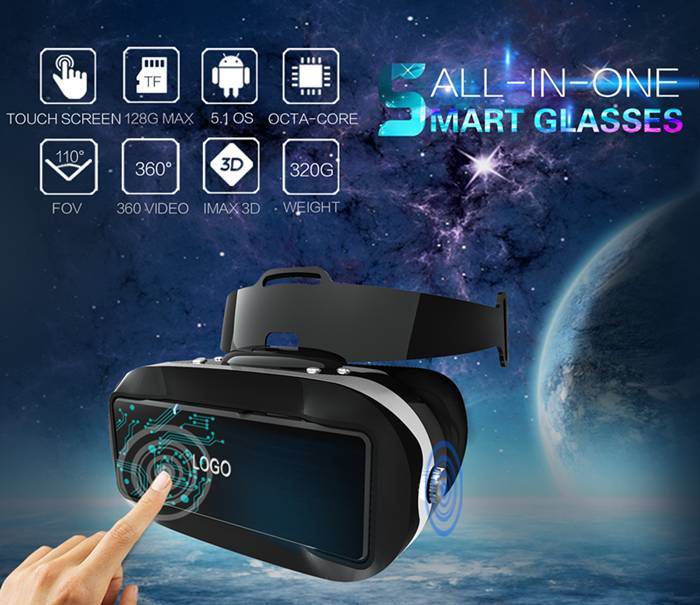 all in one VR glasses, Touch Panel 3D glasses, Android OS VR headset, only 320g