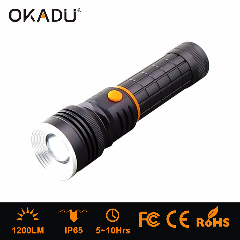 OKADU SF05 Zoom Torch 10W COB Flashlight 300Lumen COB Work Light T6 LED Flashlight with Magnet