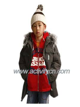 Hooded Winter Coat and Knitted Wear with Hat