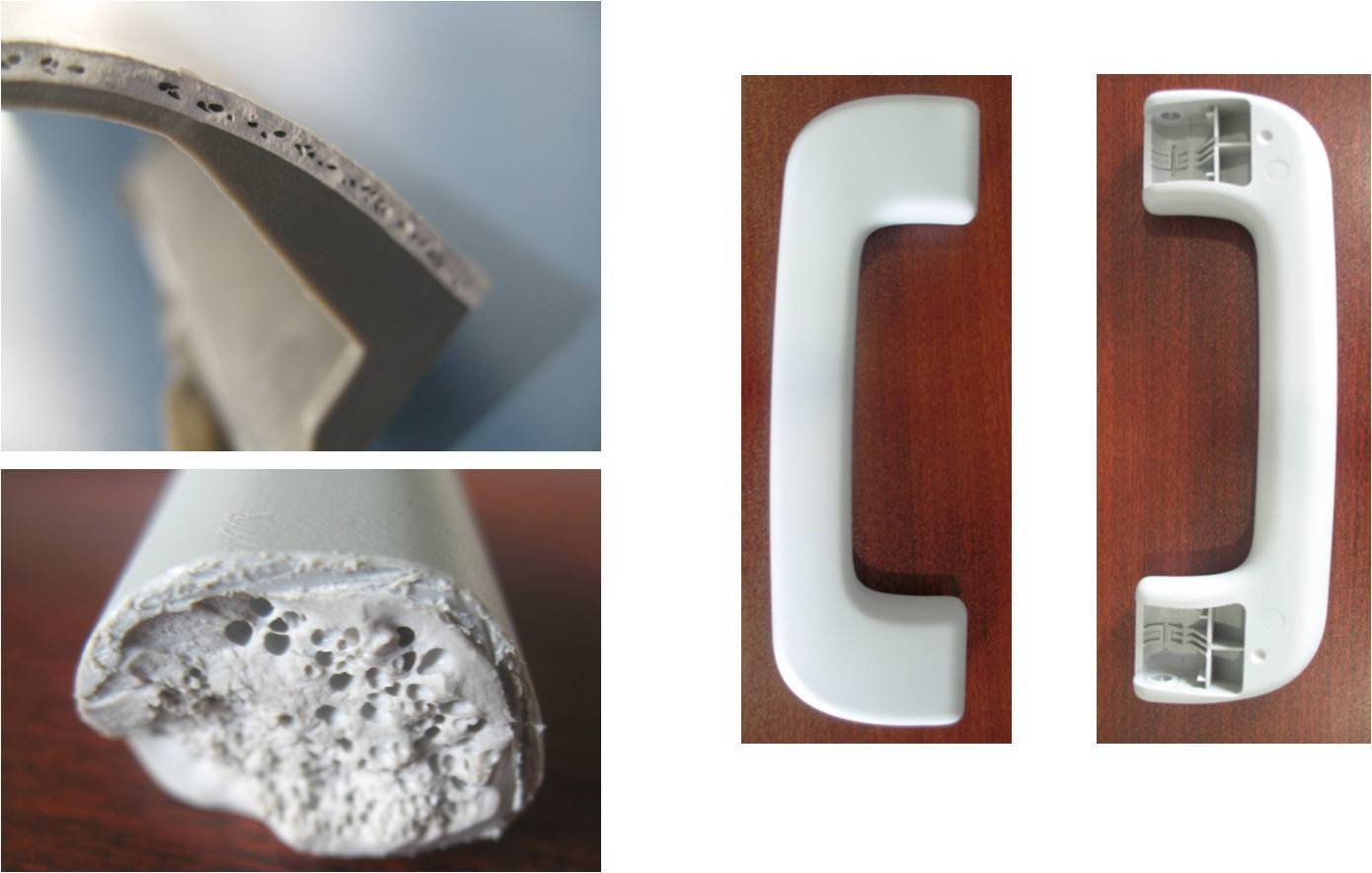 Microcellular moulds handle
